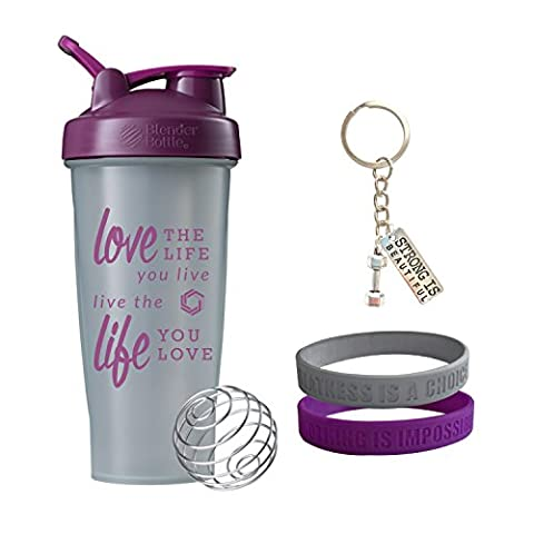 Love Life Gift Set, Includes a 28oz Blender Bottle Shaker Cup, 2 Wristbands, and a Keychain(Pebble/Plum Gift (Pebble Band Ring)