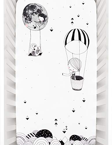 Rookie Humans 100% Cotton Sateen Fitted Crib Sheet: Frieda & the Balloon, Modern Nursery, Use as a Photo Background for Your Baby Pictures. Standard Crib Size (52 x 28 inches) - Crib Bedding Balloons Blue