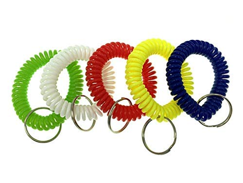 (HuanX35 Colorful Spring Spiral Wrist Coil Flexible Spiral Coil Wristband,Wrist Band Key Ring Chain Key Tag for Gym, Pool, ID Badege (5pcs))