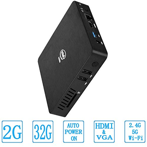 Z83-W Mini PC Fanless Silent Desktop DDR3 2GB RAM, 32GB eMMC, HD Intel Quad Core CPU up to 1.92GHz, 2W SDP, 1000M LAN, Dual Band WiFi, BT4.2, HDMI&VGA and 3 USB Ports