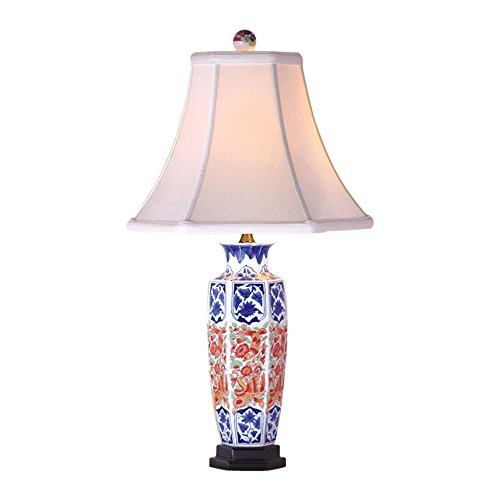 Blue And White Porcelain Table Lamps (Blue and White Porcelain Floral and Red Hexagonal Vase Table Lamp 24