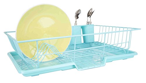 Home Basics 3 Piece Dish Drainer Set  Turquoise