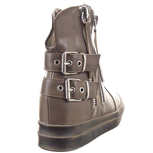 Low CM 5 Hebilla Sopily de Zapatillas plataforma 3 Talón Tobillo plantilla Cremallera Zapatillas Botines Plataforma de textil boots Moda mujer Taupe xxT4pIwaq