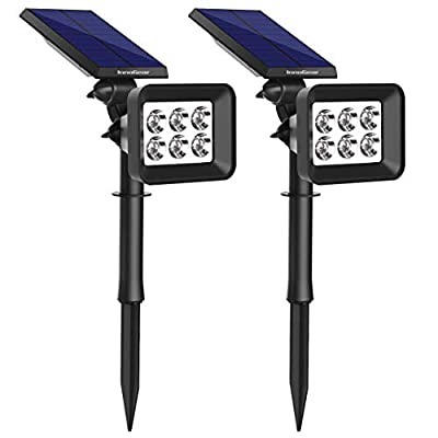 InnoGear Upgraded 6 LED Solar Spotlights Outdoor for Yard Garden Driveway, 2 Pack?White Light?