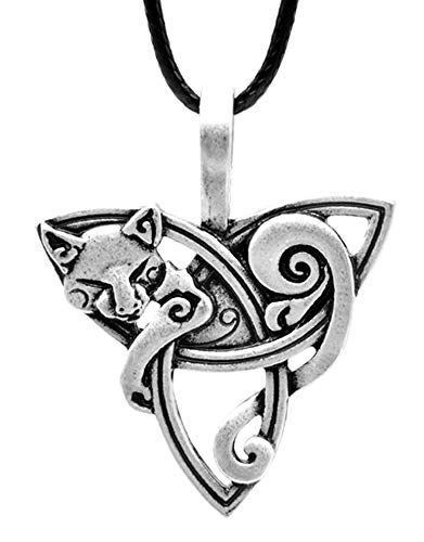 SAE99 Celtic Knot Cat/Fox Pendant PU Leather Necklace (Adjustable)