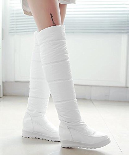 Chfso Damesmode Waterdicht Volledig Bont Gevoerd Trekkoord Op Middelste Sleehak Platform Kniehoge Winter Snowboots Wit