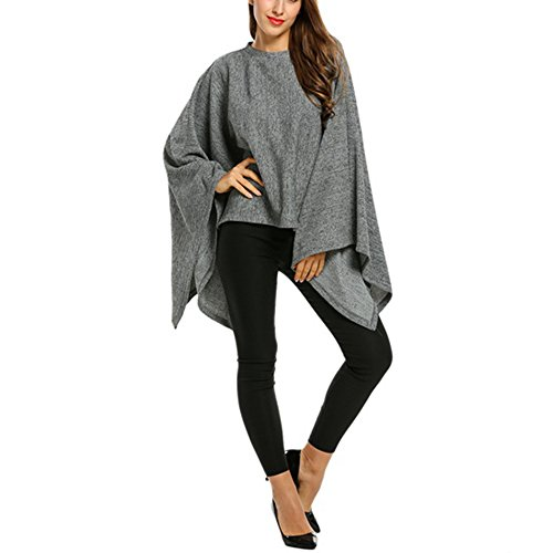 FARCOKO Brand Fashion Batwing Sleeve Sweater New Design Women Casual O-Neck Solid Cloak Style Knitted Pullover Sweater (Gray, s) by FARCOKO