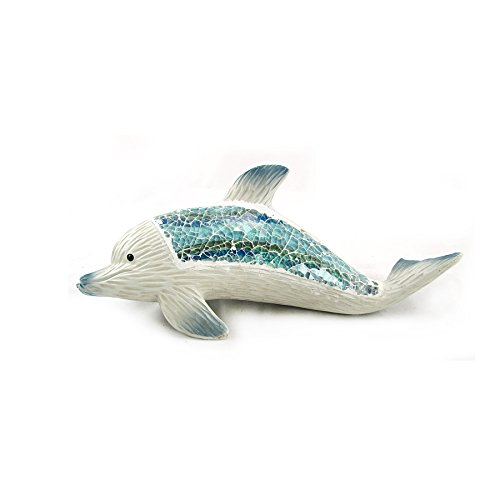 (Marine Life Collection Dolphin with Mosaic Crushed Glass Design)