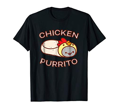 Funny Cat T-Shirt - CHICKEN PURRITO - Cat Burrito (Food Real Kitten Meat)