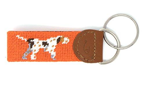 Leather Dog Keychains - Needlepoint Key Fob & Key Ring by Huck Venture (Pointer Dog)