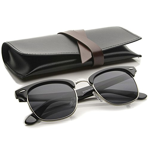 zeroUV - Premium Half Frame Horn Rimmed Sunglasses with Metal Rivets (Black-Silver  Smoke)