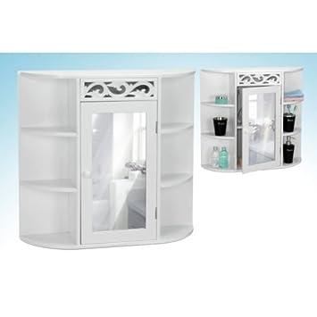 Spiegelschrank bad weiß  Badezimmer Spiegelschrank in weiß 65 cm breit mit Seitenfächern ...