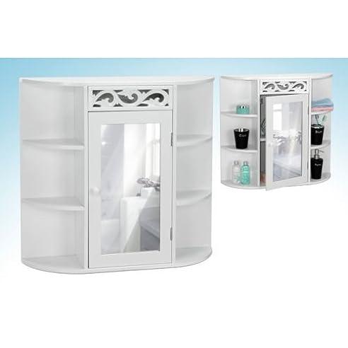 Badezimmer Spiegelschrank in weiß 65 cm breit mit Seitenfächern ...