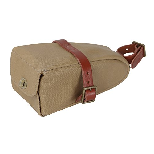 Canvas And Leather Strap-On Bike Saddle Bag Bicycle Seat Pac