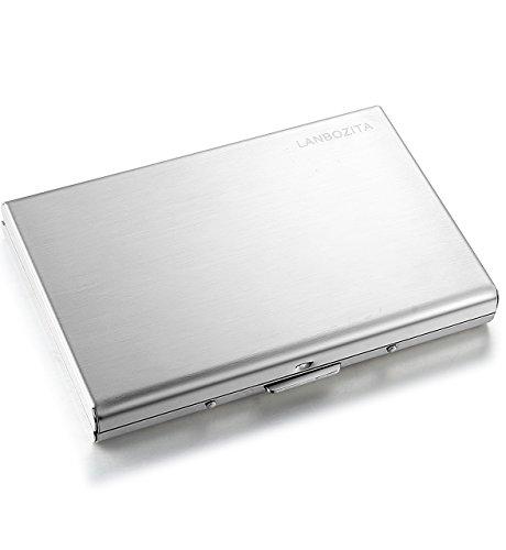 LANBOZITA SKU1 RFID Blocking Business Card Holder, Silver