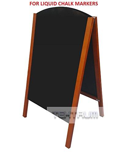 TEKTRUM DOUBLE-SIDE SIDEWALK A-FRAME TEAK FINISH WOOD SANDWICH SIGN BOARD 24.25