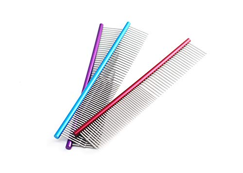 Glumes 19cm Stainless Steel Comb Pet Grooming Brush Anti-Static Hair Shedding Comb for Long Hair Dog & Cat with Different Spaced Rounded Teeth,Wide Trimmer Comb by Glumes (Image #3)