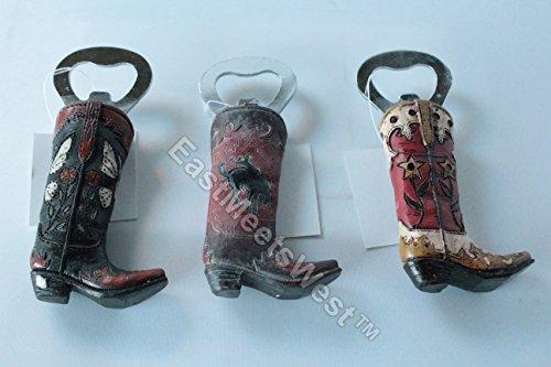 3 pcs Set Western Cowboy Cowgirl Boot Handheld Beer Bottle Opener Hand Painted Styles Metal Tip