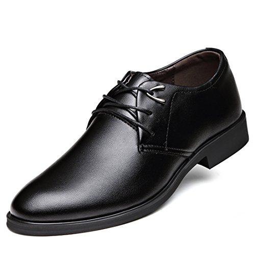 qianchuangyuan Chaussures de Ville pour Hommes Neuves Cuir PU à Lacets Bout D'Affaires Oxfords Chaussures Noir ZVLVy4