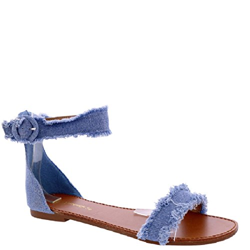 Breckelle's Sara-29 test 5.5 Frayed Denim Studded Comfy X Strap Sandals, Flat Open Toe, Ankle Strap