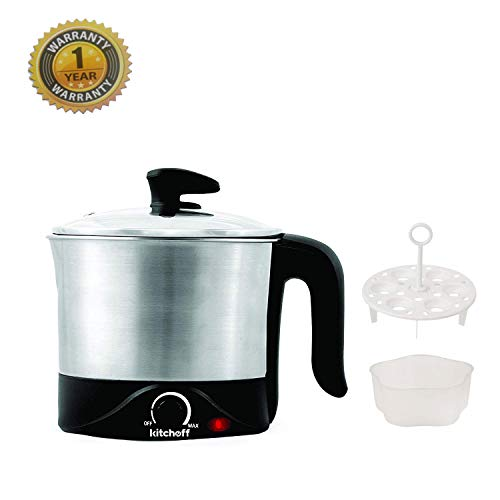 Kitchoff Stainless Steel Silver & Black Automatic Electric 1.2 Litre Multi-Purpose Kettle for Home &...