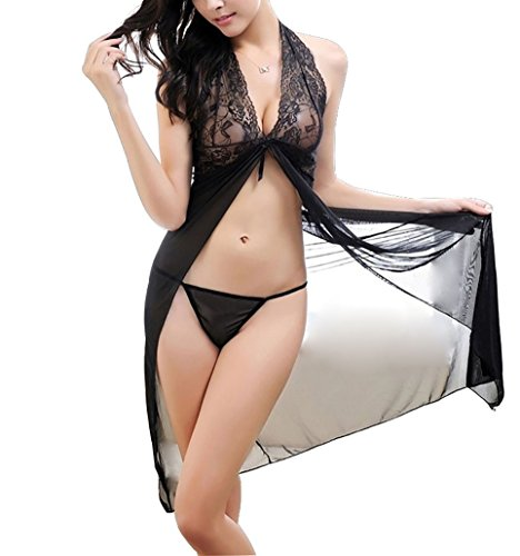 Plus Size Nightdress Mesh and Lace V Neck Sheer Lingerie Long Dress (L, black)