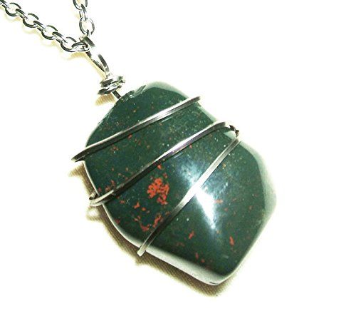 BLOODSTONE NECKLACE WIRE WRAPPED Silver COURAGE SELFLESSNESS Metaphysical Stone