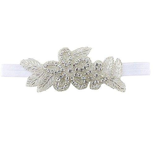 Pop Your Dream Luxury Baby Girls Headband Elastic Rhinestone Flower Turban Leaves Girl Hair Accessories Set - Elastic Band Rhinestone