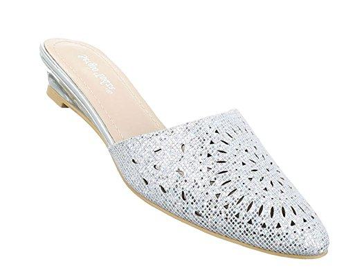 Damen Sandalen Schuhe Strandschuhe Sommerschuhe Pantoletten Pumps Silber