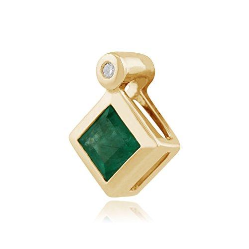 Gemondo Bague-Collier Femme-Émeraude, émeraude Or jaune 9carats 0,27Ct et diamants Pendentif sur chaîne 45cm