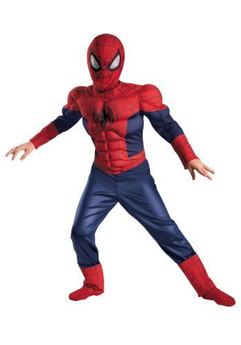 [Rubies Deluxe Spider-Man Kids Costume (Large)] (Muscle Chest Spiderman Costumes)