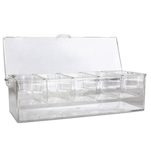 er - Clear With Removable Compartments and Lid - Safely Chill 5 Types of Condiments on Ice, Easy To Use and Easy To Clean, Serving Tray and Food Organizer ()