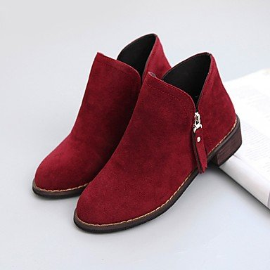 Camel Heel RTRY Boots Boots 5 Black Low 5 Combat Burgundy Suede US5 UK3 Fall CN35 Round Casual Shoes For Zipper Toe Women's EU36 qxnrqCZ8