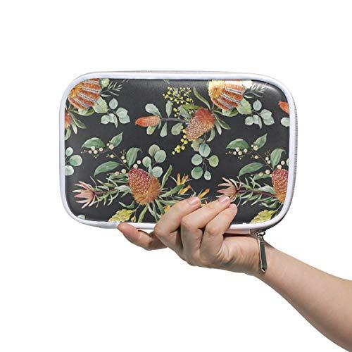 Banksia Flower - Banksia Flower Black Cosmetic Bag,Super Funny 3D Printing women makeup bag Multifuncition Pencil Holder