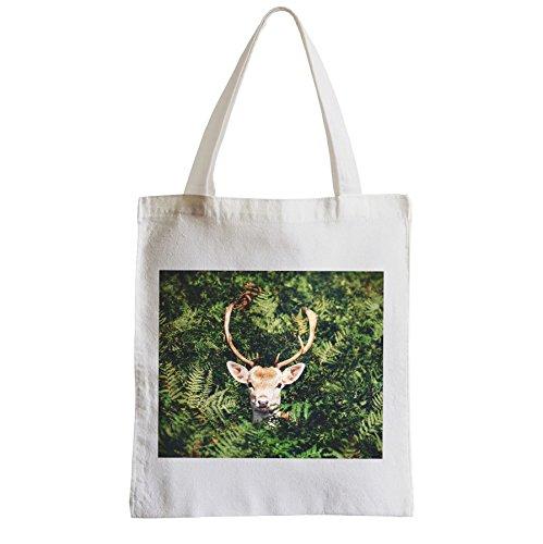 Grande Shopping Bag Spiaggia Studente Cervo Nella Natura Degli Animali Del Bosco