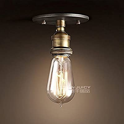 Injuicy Lighting RH Loft Edison Vintage Retro Industrial Semi Flush Mount Bronze Copper Single-head E27 Socket Led Ceiling Light Fixture for Cafe Bar Hall Dining Room Decoration