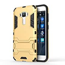 """ASUS Zenfone 3 5.5"""" ZE552KL Case DWaybox 2 in 1 Hybrid Heavy Duty Armor Hard Back Cover Case with kickstand for ASUS Zenfone 3 ZE552KL 5.5 Inches (Gold)"""