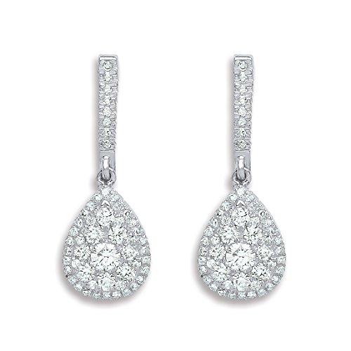 Jareeya-Or blanc 18ct 0,75ct Diamant en forme de larme Pendants d'oreilles
