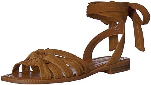 Nine West Flat Sandals - Nine West Women's XAMEERA Suede Flat Sandal, Brown, 8 Medium US