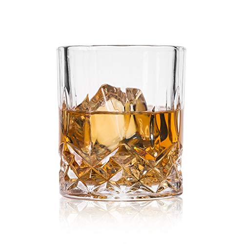 Tall Glass Rocks - GLASKEY Whiskey Glass Set of 4-7.5 oz Lead Free Crystal Old Fashioned Glass, Cocktail Cool Rocks Glass Tumbler for Bourbon, Irish Whisky, Brandy and More, Scotch Glasses