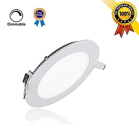 P&B Lighting 6W Dimmable Round LED Panel Light Lamp, Ultra-thin Recessed Ceiling Light, 40W Incandescent Equivalent, 480lm, Warm White 3000K, Cut Hole 4.1 Inch, Downlight with 110V LED Driver