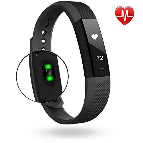 KEDA Fitness Tracker Bluetooth Notification Push Pedometer Smart Wristband (BLACK)