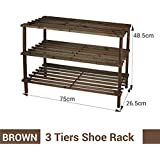2-3-4 tier wooden shoe rack shoe cabinet storage keep shoes in managed wayV (3 tier, Brown)