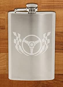 Racing Steering Wheel Checkered Flag - Etched 8 Oz Stainless Steel Flask