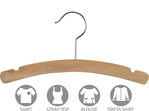 Kids Top Hanger with Notches and Natural Finish, Box of 100 Arched 12 Inch Wooden Hangers with Rounded Shoulders and Chrome Swivel Hook by The Great American Hanger Company by The Great American Hanger Company