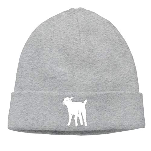 Men/Women Daily Baby Goat Silhouette Skull Cap Beanie Hat Gray