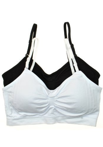 2 or 4 PACK: Seamless Removable Strap Bras,One Size,Black/White.Black/White (Seamless Cami Bra)