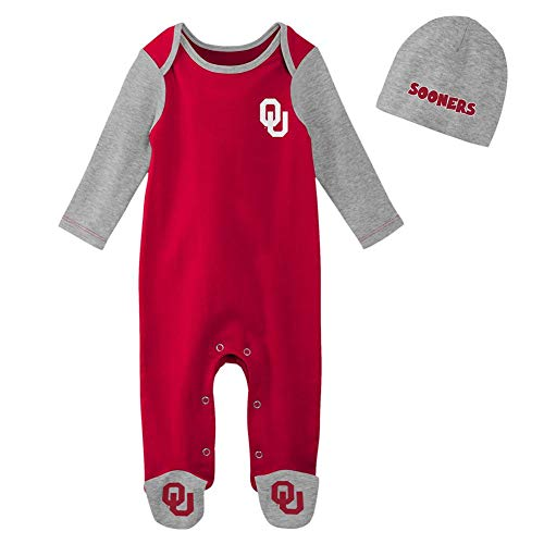 Outerstuff Infant University of Oklahoma Sooners Bodysuit Set Baby Sleeper & Hat (6-9 M)
