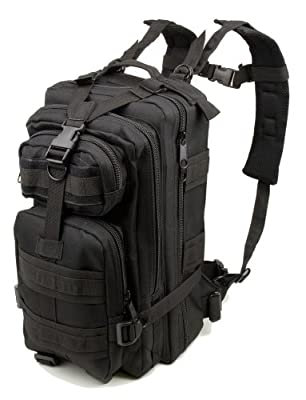 Tactic Shield Stealth Black Waterproof Full Featured Assault Pack Backpack 3 Day Bug Out Bag Multi-functional Equipment Molle Modular Heavy Duty Back Pack