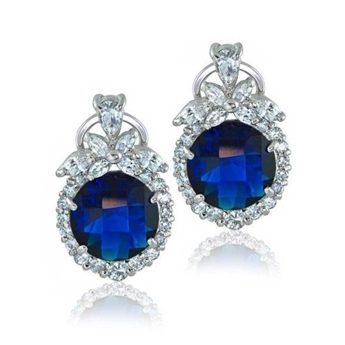 Blue Simulated Sapphire CZ Omega Clip Earrings Rhodium Plated Brass by Bling Jewelry